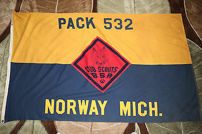 "vint 56""x34"" Cub Scout Norway Mich troop 532 flag w/sewn on letters by Defiance"