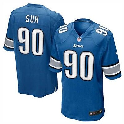Nike NFL Detroit Lions Ndamukong Suh American Football Game Jersey Blue S