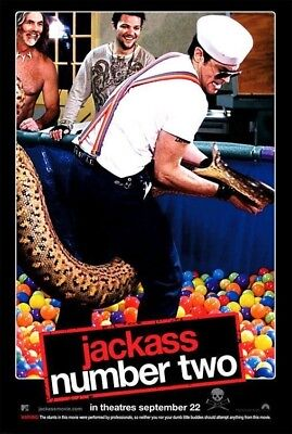 JACKASS NUMBER TWO MOVIE POSTER 2 Sided ORIGINAL SNAKE 27x40 JOHNNY KNOXVILLE