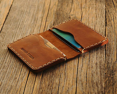 Brown Personalized Embossed Leather Wallet Monogram your name Rustic Style Pouch
