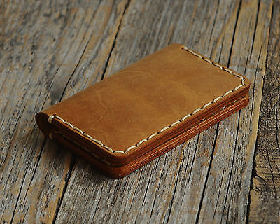 Tan Brown Personalized Leather Wallet Monogram your name Rustic Style Pouch