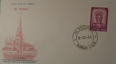 India Busta Postale Primo Giorno St. Thomas 0.15 First Day Of Issue 2.12.1964