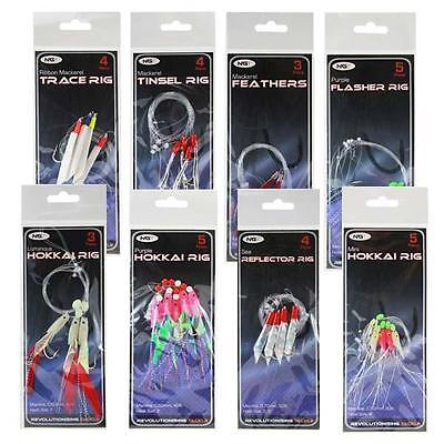 8 NGT Bass Mackerel Feathers Cod Fishing Lure Lures Sea Boat Rod Tackle Rigs