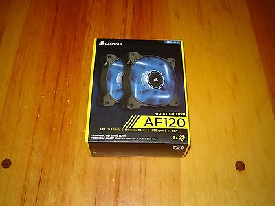 Corsair AF120 Quiet Edition Blue LED Series Case Fan - Twin Pack