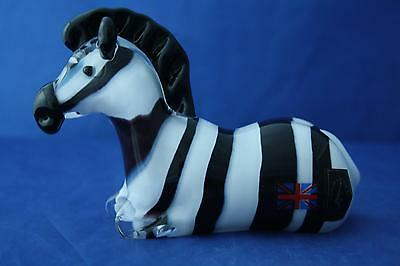 Langham Glass Crystal Hand Made Zebra Figurine New / Boxed