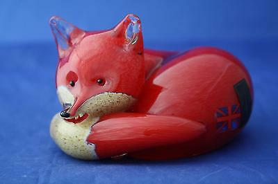 Langham Glass Hand-Made Crystal Medium Fox At Rest - New / Boxed