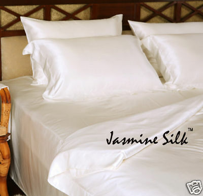 Jasmine Silk 100% 19 MM Charmeuse Silk Fitted Sheet (Ivory) - DOUBLE