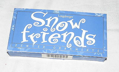 Longaberger Snow Friends Pewter Ornaments Box of Two NEW