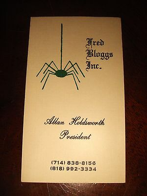 Ultra Rare ALLAN HOLDSWORTH BUSINESS CARD CIRCA 1986 Atavachron FRED BLOGGS INC