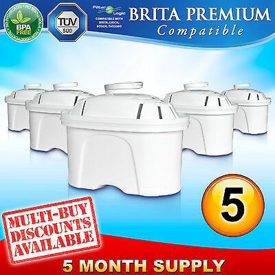 5 x FL402 Replacement Water Filter Compatible with Brita Maxtra Jug Cartridge