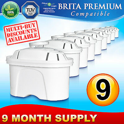 9 x FL402 Replacement Water Filter Compatible with Brita Maxtra Jug Cartridge