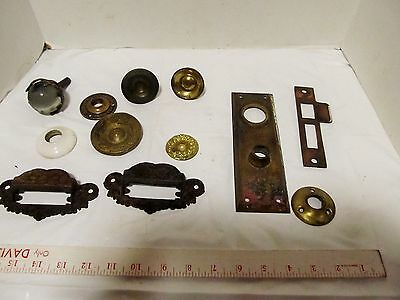 Vintage Hardware Lot Salvage 12 piece, brass back plate, knobs, pulls LQQK!