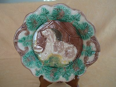 "ANTIQUE MAJOLICA 11"" CABINET PLATE, DOG and DOG HOUSE PATTERN"