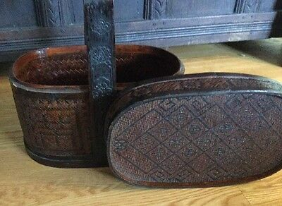Antique Chinese Woven Basket with Carved Handle