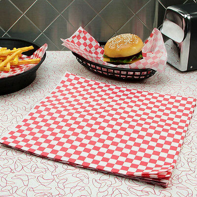 "1000pcs 12x12"" Red and White Checkered Dry Waxed Sandwich Paper Sheets Oil Paper"