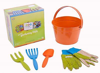 Childrens Gardening Tool Kit incl 3 Tools, Gloves and Green Metal Pail by TWIGZ