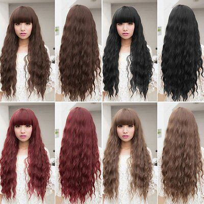 Womens Cosplay Wig Long Wavy Curly Ombre Red Hair Costume Party Lolita Full Wig