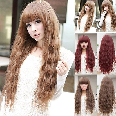 Women Long Curly Wavy Full Wig Heat Resistant Hair Cosplay Party Lolita Popular~