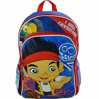 "Disney Jake and The Neverland Pirates Backpack 16"" Large Kids School Book Bag"