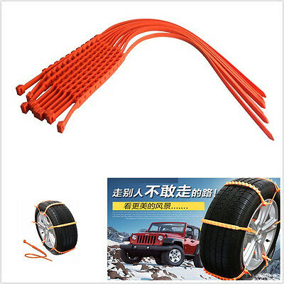10 Pcs Red TPU Material Car Autos Wheel Tire Antiskid Chains Slip Driving Safety