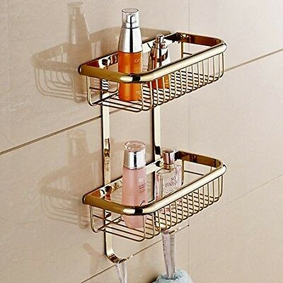 Wall Mount Solid Brass 2 Tiers Dual Rectangle Wire Baskets Bathroom Shower