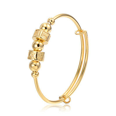 Baby's Adjustable Bangle Infant Toddler Spinner Yellow Gold Filled Jewelry