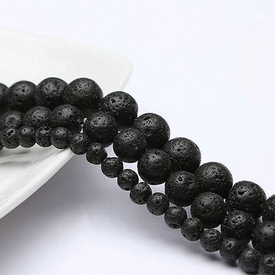New Natural Volcanic Lava Stone Gemstone Round Loose Beads Jewelry Accessory 15""