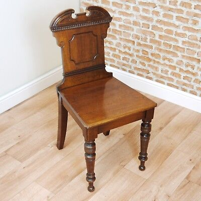 Antique Edwardian Mahogany Carved Square Shield Back Decorative Hall Chair C1890 • £137.75