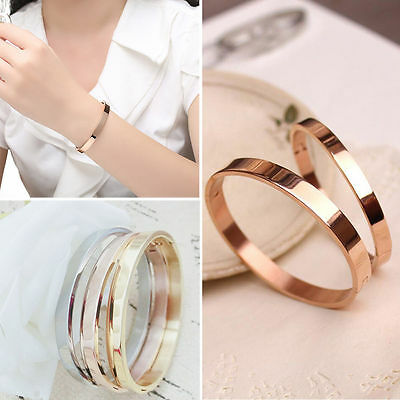 Gold-Plated Stainless Steel Ladies Cuff Bangle Crystal Bracelet Gorgrous