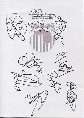 Two A4 white cards with the Grimsby Town Badge. Signed by 24 players on 15.10.16