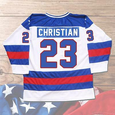 Dave Christian #23 USA Hockey Jersey 1980 Miracle On Ice Stitched White M-3XL