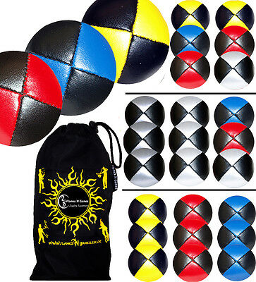 Pro Thud Juggling Balls Set of 3 - PU Leather Beanbag Juggling Ball Set & Bag
