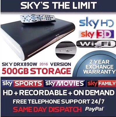 Sky Plus + HD Wifi Box DRX890WL, Built In Wifi, 2016 Model, 500gb, Remote, card