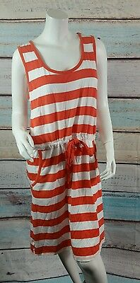 64f861c0b4 Merona White Orange Stripe Tank Style Drawstring Waist Nautical Dress Size L