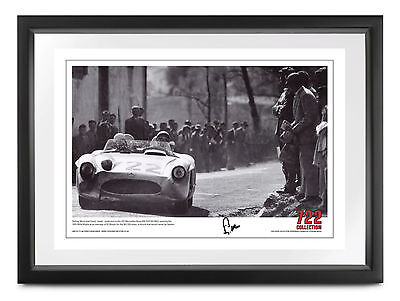Stirling Moss SIGNED 1955 Mille Miglia finish Mercedes-Benz 300SLR, 35x50cm, COA