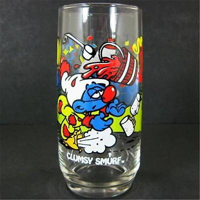 1983 Clumsy Smurf 16oz Ice Tea Glass Tumbler Peyo Wallace Berrie Hardee's
