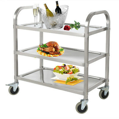 Commercial 3-Shelf Stainless Steel Restaurant Utility Cart Kitchen Buffet Wheel