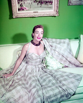 Joan Crawford color portrait on couch 1940's 8x10 Photo