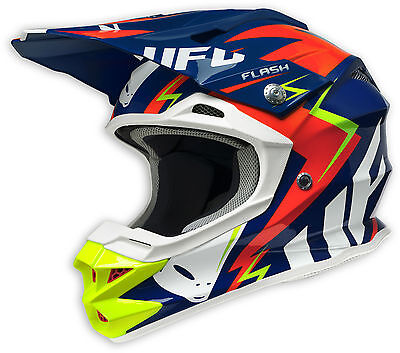 Ufo Plast Casco Helmet Blu Blue Interceptor 2 Moto Cross Enduro Motard Mtb