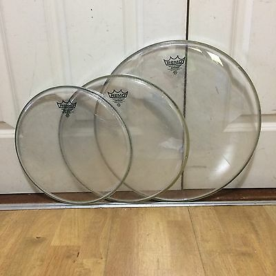"Remo Emperor Clear Rock Tom Heads 12""/13""/16"" ~Free Shipping~"