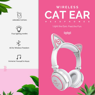 Foldable Bluetooth Cat Ear Headset LED Light Headphones Earphone Valentines Gift