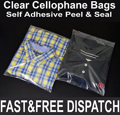 Clear Cellophane Cello Bags Display Garment Self Adhesive Peel Seal Plastic OPP
