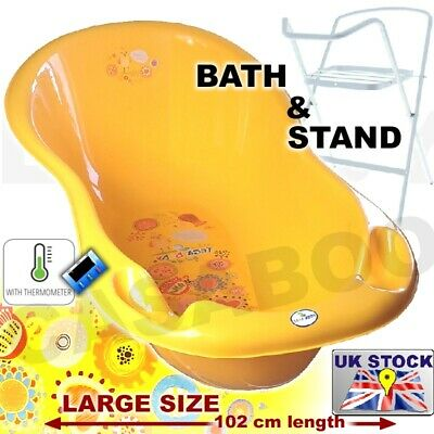 Large Baby Bath Tub with STAND + thermometer -102 cm -brand NEW  GREY OWLS