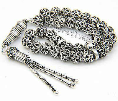 High quality Sterling Silver Prayer Beads. Tasbih, Masbaha, Rosary, Worry beads.