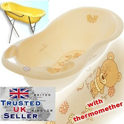 Large Baby Bath Tub with STAND + thermometer -102 cm -brand TEDDY BEIGE PEARL