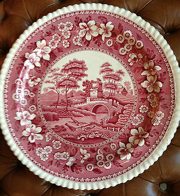 "Copeland Spode Pink Tower -Chop Plate 13"" - Old Mark"
