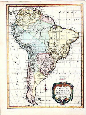 ANTIQUE MAP - 1757 -  SOUTH AMERICA -   N. Bellin