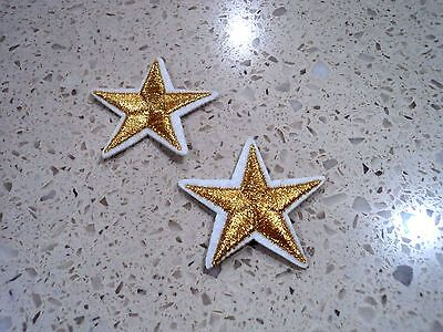 New 2x Bright Gold Stars Embroidered Cloth Patch Applique Badge Iron Sew On