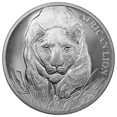2017 Republic Of Chad African Lion 1 oz .999 Silver BU Round Bullion Coin W/COA