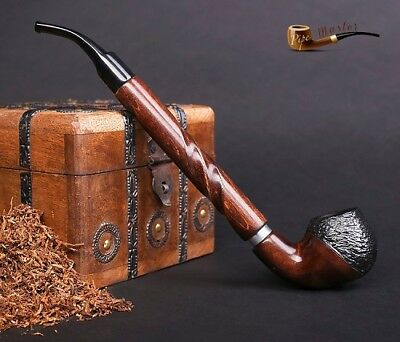 """LARGE WOODEN SMOKING PIPE for TOBACCO CHURCHWARDEN no 65 LONG 11""""  Rustic Brown"""